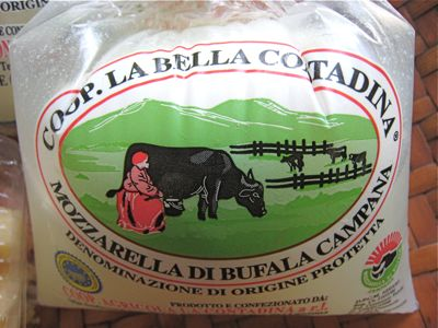 Newly landed mozzarella di bufala or buffalo milk mozzarella flown in from